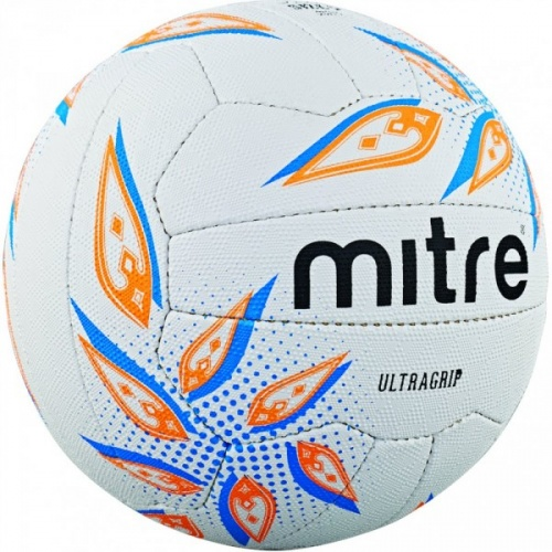 Mitre Ultragrip Netball - White/Cyan/Orange