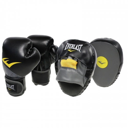 Everlast Advanced 12oz Glove & Mitt Combo - BLACK
