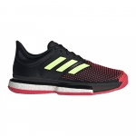 Adidas Sole Court Boost Men's Tennis Shoe - Core Black/Hi-Res Yellow/Shock Red Adidas Sole Court Boost Men's Tennis Shoe - Core Black/Hi-Res Yellow/Shock Red