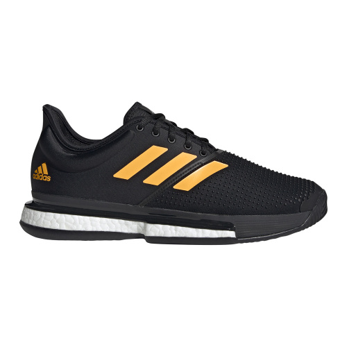 Adidas SoleCourt Men's Tennis Shoe - Core Black/Flash Orange/Carbon