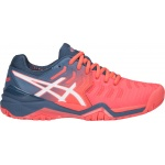 ASICS GEL-Resolution 7 Women's Tennis Shoe - Papaya/White - JAN 19 ASICS GEL-Resolution 7 Women's Tennis Shoe - Papaya/White - JAN 19