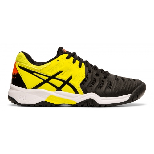ASICS GEL-Resolution 7 GS Boys Tennis Shoe - BLACK/SOUR YUZU