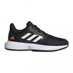 Adidas CourtJam Kids Tennis Shoe - Core Black/FTWR White/HI-Res Coral - JULY Adidas CourtJam Kids Tennis Shoe - Core Black/FTWR White/HI-Res Coral - JULY