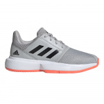 Adidas CourtJam xJ Kids Tennis Shoe - Grey Two/Core Black/Signal Coral - JAN 2020 Adidas CourtJam xJ Kids Tennis Shoe - Grey Two/Core Black/Signal Coral - JAN 2020