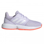 Adidas CourtJam xJ Kids Tennis Shoe - Purple Tint/FTWR White/Signal Coral Adidas CourtJam xJ Kids Tennis Shoe - Purple Tint/FTWR White/Signal Coral