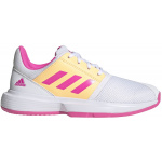 Adidas CourtJam xJ Kids Tennis Shoe - FTWR White/Screaming Pink/Acid Orange Adidas CourtJam xJ Kids Tennis Shoe - FTWR White/Screaming Pink/Acid Orange