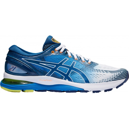 ASICS GEL-Nimbus 21 SHINE Men's Running Shoe - White/Lake Drive
