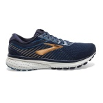 Brooks Ghost 12 2E WIDE Men's Running Shoe - NAVY/DEEP WATER/GOLD Brooks Ghost 12 2E WIDE Men's Running Shoe - NAVY/DEEP WATER/GOLD