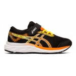 Asics Excite 6 PS VELCRO Boys Running Shoe - Black/Shocking Orange Asics Excite 6 PS VELCRO Boys Running Shoe - Black/Shocking Orange