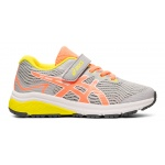 ASICS GT-1000 8 PS VELCRO Girls Running Shoe - PIEDMONT GREY/SUN CORAL ASICS GT-1000 8 PS VELCRO Girls Running Shoe - PIEDMONT GREY/SUN CORAL