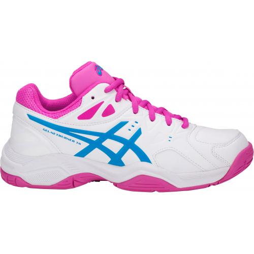 ASICS GEL-NETBURNER 18 GS GIRLS NETBALL SHOE - WHITE/ISLAND BLUE/PINK GLOW @ Sportsmart | Tuggl