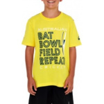 ASICS Cricket Australia Kids Bat Bowl Supporter Tee - YELLOW ASICS Cricket Australia Kids Bat Bowl Supporter Tee - YELLOW