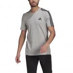 Adidas Mens Essentials 3-Stripes Tee - Medium Grey Heather Adidas Mens Essentials 3-Stripes Tee - Medium Grey Heather