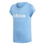 Adidas Girls Essentials Linear T-shirt - Lucky Blue/White Adidas Girls Essentials Linear T-shirt - Lucky Blue/White