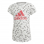 Adidas Girls Must Haves Graphic Tee - White/Black/REAL PINK