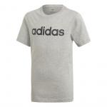 adidas Boys Essentials Linear Logo Tee - Medium Grey Heather/Black adidas Boys Essentials Linear Logo Tee - Medium Grey Heather/Black