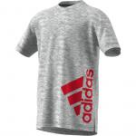 Adidas Boys Badge of Sport Summer T-shirt - White Melange/MGH Solid Grey/Scarlet Adidas Boys Badge of Sport Summer T-shirt - White Melange/MGH Solid Grey/Scarlet