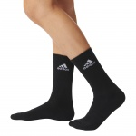 Adidas Men's 3 Stripe Crew Sock - Black Adidas Men's 3 Stripe Crew Sock - Black