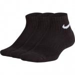 Nike Kids Performance Cushioned Quarter Training Socks (3 Pair) - Black Nike Kids Performance Cushioned Quarter Training Socks (3 Pair) - Black