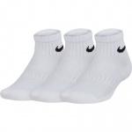 Nike Kids Performance Cushioned Quarter Training Socks (3 Pair) - White Nike Kids Performance Cushioned Quarter Training Socks (3 Pair) - White