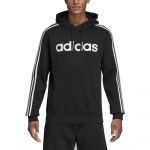 Adidas Men's Essentials 3 Stripes Pullover Fleece Hoodie - Black/White Adidas Men's Essentials 3 Stripes Pullover Fleece Hoodie - Black/White