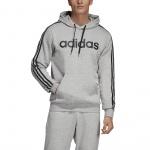 Adidas Men's Essentials 3 Stripes Pullover Hoodie - Medium Grey Heather/Black Adidas Men's Essentials 3 Stripes Pullover Hoodie - Medium Grey Heather/Black