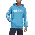 Adidas Men's Essentials 3 Stripes Pullover Fleece Hoodie - shock cyan/white Adidas Men's Essentials 3 Stripes Pullover Fleece Hoodie - shock cyan/white