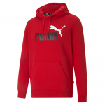 PUMA Mens Essentials+ Two-Tone Big Logo Hoodie - HIGH RISK RED PUMA Mens Essentials+ Two-Tone Big Logo Hoodie - HIGH RISK RED