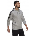 Adidas Mens Essentials Fleece Cut 3-Stripes Hoodie - Medium Grey Heather/Black Adidas Mens Essentials Fleece Cut 3-Stripes Hoodie - Medium Grey Heather/Black