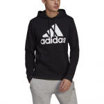 Adidas Mens Essentials Fleece Big Logo Hoodie - Black/White Adidas Mens Essentials Fleece Big Logo Hoodie - Black/White