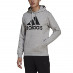Adidas Mens Essentials Fleece Big Logo Hoodie - Medium Grey Heather/Black Adidas Mens Essentials Fleece Big Logo Hoodie - Medium Grey Heather/Black