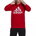 Adidas Mens Essentials Fleece Big Logo Hoodie - Scarlet/White Adidas Mens Essentials Fleece Big Logo Hoodie - Scarlet/White