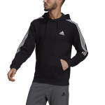 Adidas Mens Essentials Fleece Cut 3-Stripes Hoodie - Black/White Adidas Mens Essentials Fleece Cut 3-Stripes Hoodie - Black/White