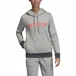 Adidas Women's Essentials Linear Over Head Fleece Hoodie - medium grey heather/prism pink Adidas Women's Essentials Linear Over Head Fleece Hoodie - medium grey heather/prism pink