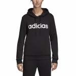 Adidas Women's Essentials Linear Over Head Fleece Hoodie - black/white Adidas Women's Essentials Linear Over Head Fleece Hoodie - black/white