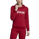 ADIDAS Women's Essentials Linear Pullover Hoodie - active maroon/white ADIDAS Women's Essentials Linear Pullover Hoodie - active maroon/white