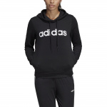 Adidas Women's Essentials Linear Pullover Hoodie - BLACK/WHITE Adidas Women's Essentials Linear Pullover Hoodie - BLACK/WHITE