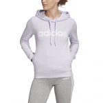 Adidas Womens Essentials Linear Over Head Hoodie - Purple Tint/White Adidas Womens Essentials Linear Over Head Hoodie - Purple Tint/White