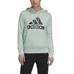 Adidas Womens Badge Of Sport Overhead Fleece Hoodie - Green Tint Adidas Womens Badge Of Sport Overhead Fleece Hoodie - Green Tint