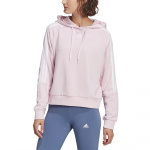 adidas Womens Essentials Loose-Cut 3-Stripes Cropped Hoodie - Clear Pink adidas Womens Essentials Loose-Cut 3-Stripes Cropped Hoodie - Clear Pink