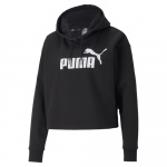 PUMA Womens Essentials Cropped Logo Hoodie - BLACK PUMA Womens Essentials Cropped Logo Hoodie - BLACK