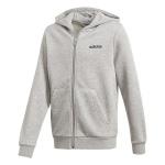 Adidas Boys Essentials Linear Full Zip Hoodie - Medium Grey Heather/Black Adidas Boys Essentials Linear Full Zip Hoodie - Medium Grey Heather/Black