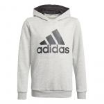 Adidas Boys Essentials Big Logo Hoodie - Medium Grey Heather/Black Adidas Boys Essentials Big Logo Hoodie - Medium Grey Heather/Black