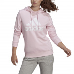 Adidas Womens Essentials Relaxed Logo Hoodie - Clear Pink/White Adidas Womens Essentials Relaxed Logo Hoodie - Clear Pink/White