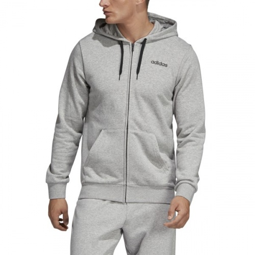 Adidas Men's Essentials Linear Fullzip French Terry Hoodie - Medium Grey Heather