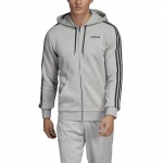 Adidas Men's Essentials 3 Stripes Fullzip Fleece Hoodie - Medium Grey Heather/Black Adidas Men's Essentials 3 Stripes Fullzip Fleece Hoodie - Medium Grey Heather/Black
