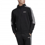Adidas Ess 3-Stripes Full-Zip Hooded Track Jacket - BLACK/WHITE Adidas Ess 3-Stripes Full-Zip Hooded Track Jacket - BLACK/WHITE