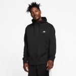 Nike Mens Sportswear Club Full-Zip Fleece Hoodie - BLACK Nike Mens Sportswear Club Full-Zip Fleece Hoodie - BLACK