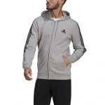 Adidas Mens Essentials Fleece Cut 3-Stripes Track Jacket - Medium Grey Heather/Black Adidas Mens Essentials Fleece Cut 3-Stripes Track Jacket - Medium Grey Heather/Black