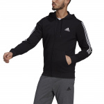 Adidas Mens Essentials Fleece Cut 3-Stripes Track Jacket - BLACK/WHITE Adidas Mens Essentials Fleece Cut 3-Stripes Track Jacket - BLACK/WHITE